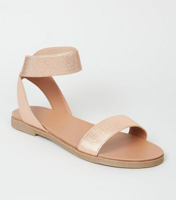 Wide Fit Rose Gold Elastic Ankle Strap Flat Sandals by New Look