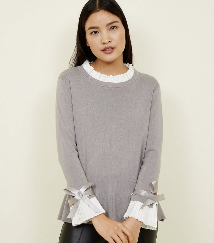 c88eb8e2dba Cameo Rose Grey 2-in-1 Pleated Jumper