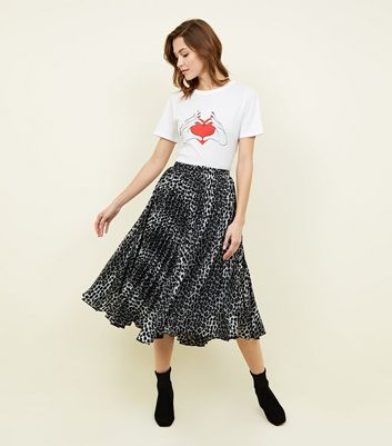 Light Grey Leopard Print Pleated Midi Skirt