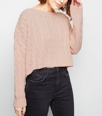 Cameo Rose Pale Pink Cable Knit Jumper