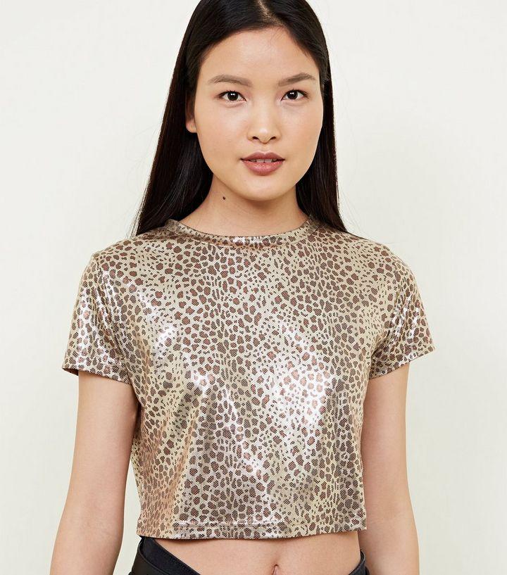 bf0dc9330e82e7 Cameo Rose Gold Metallic Leopard Print Crop Top