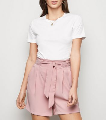 Mid Pink Tie Front Waist Shorts