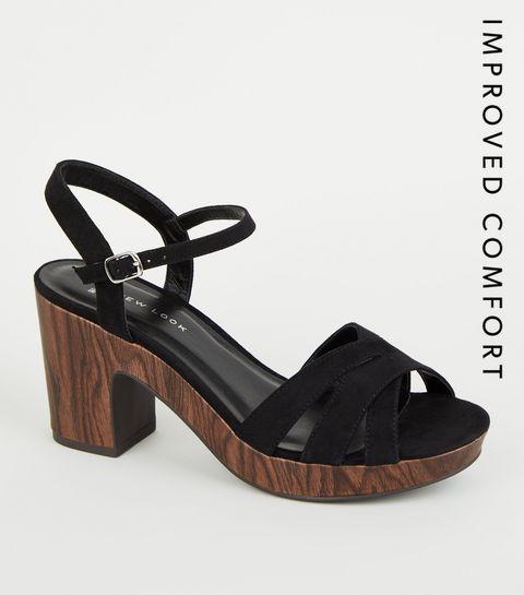 dc072aae22296d ... Wide Fit - Chaussures en suédine noire à talons effet bois ...