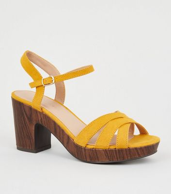 Wide Fit Mustard Suedette Wood Effect Heels