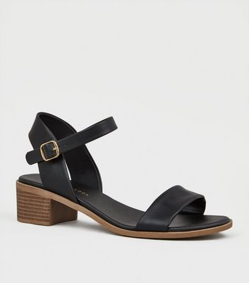 Wide Fit Black Leather Look Footbed Sandals by New Look