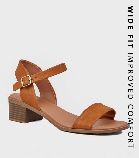 dfbe9ee1b4c9 ... Wide Fit Tan Leather-Look Footbed Sandals ...