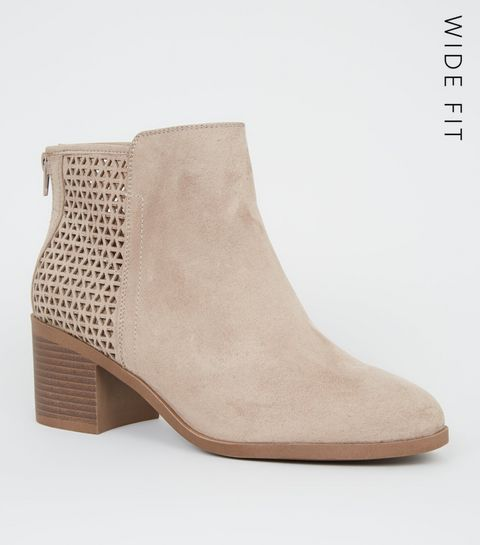 4b9c63bf0bc ... Wide Fit Camel Cut Out Back Ankle Boots ...