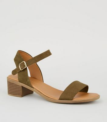 Wide Fit Khaki 2 Part Footbed Sandals