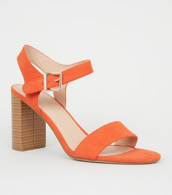 Wide Fit Orange Wood Effect Block Heel