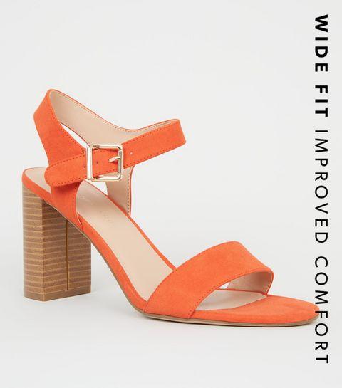 a60e35639884 ... Wide Fit Orange Wood Effect Block Heel ...