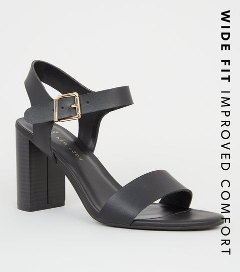 9b9fc4895a ... Wide Fit Black Leather-Look 2 Part Block Heels ...