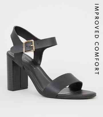 14e74f91e6a Wide Fit Black Leather-Look 2 Part Block Heels ...