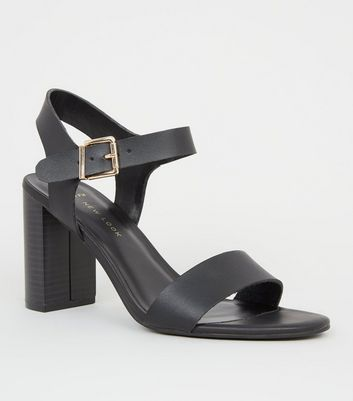 542a0c94bbd Wide Fit Black Leather-Look 2 Part Block Heels