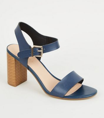 Wide Fit Navy Leather-Look 2 Part Block Heels