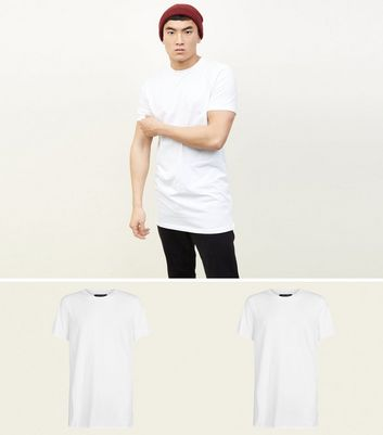 2 Pack White Longline T-Shirts