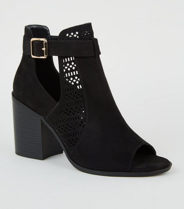 8433d557812 Wide Fit Black Suedette Cut Out Block Heels Add to Saved Items Remove from  Saved Items
