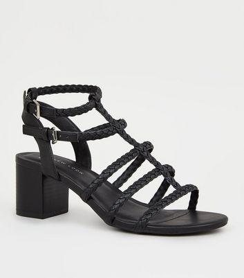 Wide Fit Black Plait Strap Gladiator Sandals