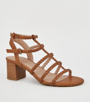 Wide Fit Tan Plait Strap Gladiator Sandals
