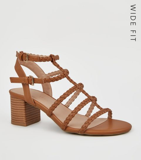 aa08e4083f9 ... Wide Fit Tan Plait Strap Gladiator Sandals ...