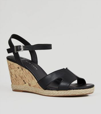 SandalsNew Wide Fit Black Effect Look Cork Wedge 0PwknO