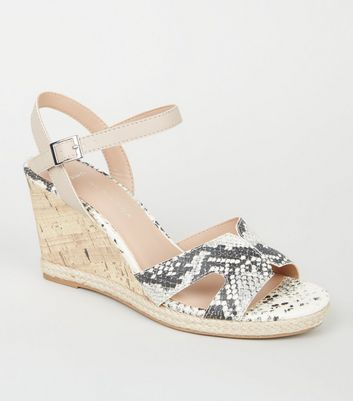 Wide Fit Stone Faux Snake Cork Effect Wedge Heels