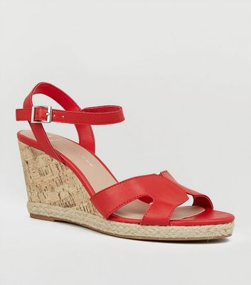 Wide Fit Red Cork Effect Wedge Sandals