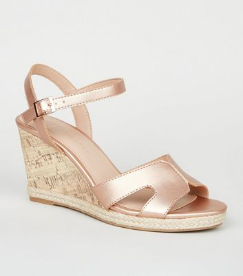 Wide Fit Rose Gold Cork Effect Wedge Sandals