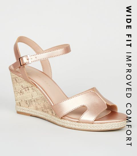 f3a3ac227a6a ... Wide Fit Rose Gold Cork Effect Wedge Sandals ...