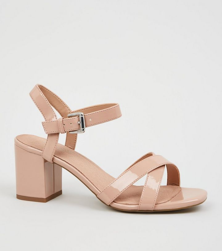 edb707cc9c3e Nude Patent Cross Strap 2 Part Block Heels