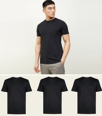3 Pack Black Crew Neck T-Shirts