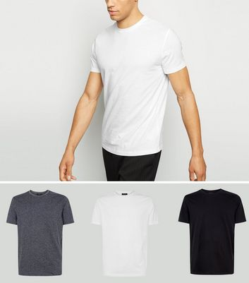 3 Pack Grey Marl Crew Neck T-Shirts