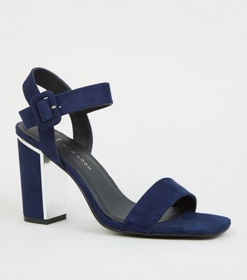 Wide Fit Navy Suedette Metal Heel Sandals