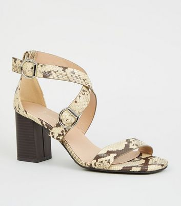 Wide Fit Stone Faux Snake Strappy Block Heels