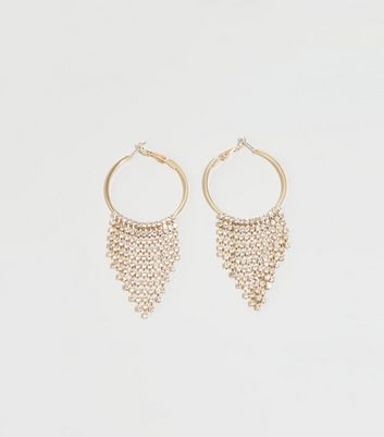 Gold Diamanté Chain Drop Hoop Earrings