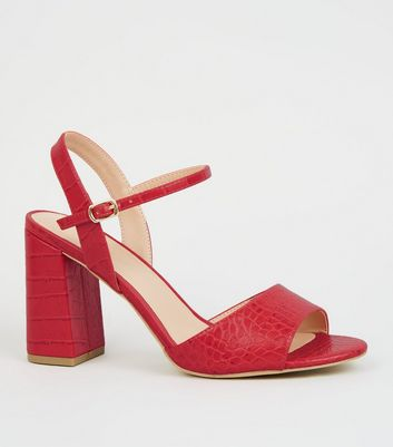 Wide Fit Red Faux Croc Block Heels