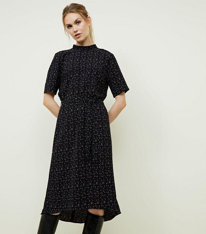25b31fb4fa JDY Black Spot Print High Neck Midi Dress | New Look