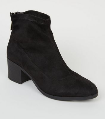 Girls Black Suedette Zip Back Sock Boots