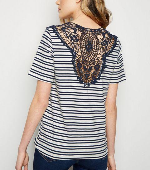 07e20bdb565 ... JDY Navy Stripe Crochet Back Top ...