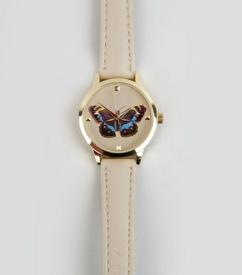 Pale Pink Butterfly Analogue Watch New Look