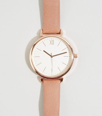 Montre en similicuir rose pâle