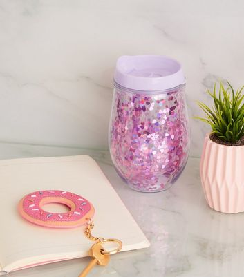Lilac Glitter Heart 300ml Short Cup