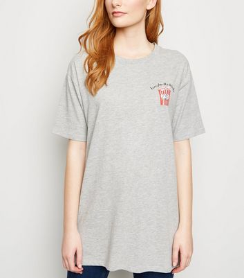 Grey Here For Snacks Slogan Oversized T-Shirt