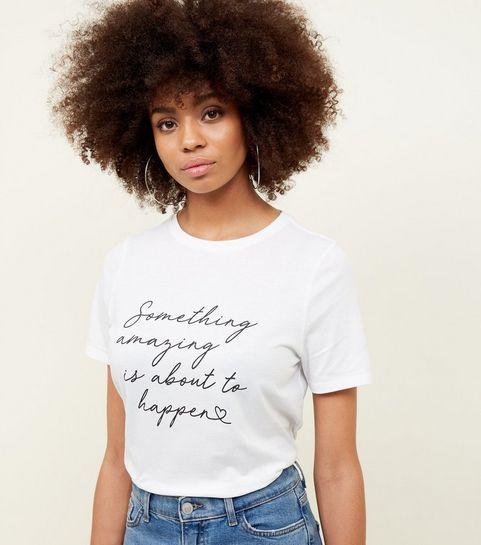 4b87a8e3a5 ... White Something Amazing Slogan T-Shirt ...