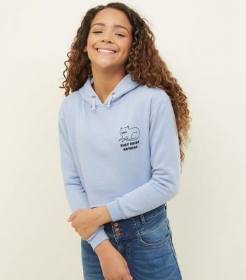 Girls Pale Blue Cat Doing Nothing Slogan Hoodie