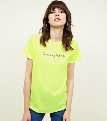 Yellow Neon Best Life Slogan T-Shirt