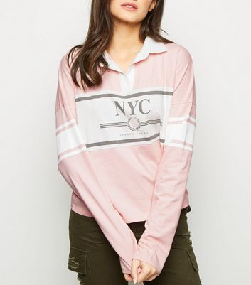 Pink NYC Slogan Colour Block Rugby Shirt