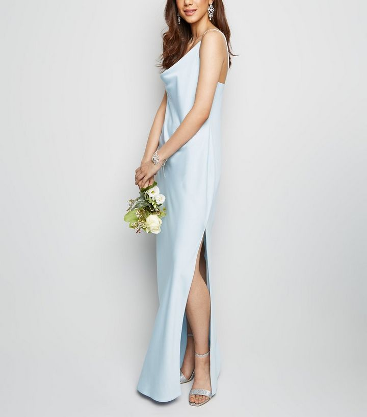 e59f7ab1a83 Pale Blue Satin Cowl Neck Maxi Dress