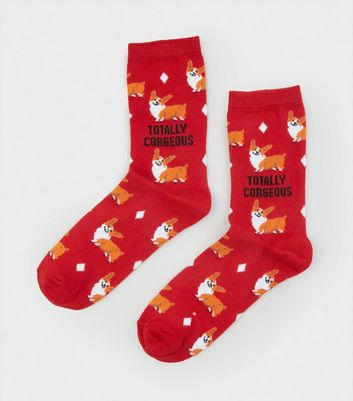 Red Totally Corgeous Slogan Socks