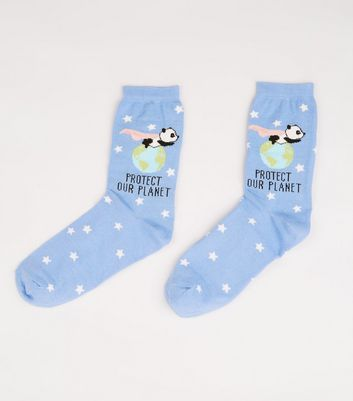 Pale Blue Protect Our Planet Panda Socks