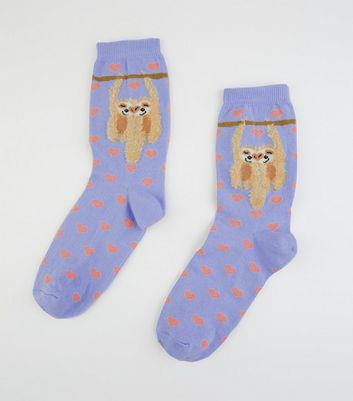 Purple Textured Cuddling Sloth Socks